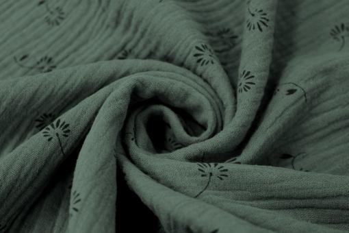 Musselin Double Gauze Flower Khaki