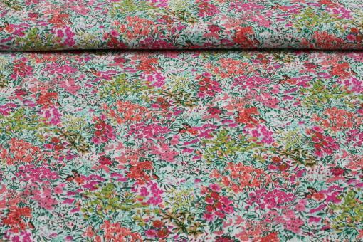 Viskosestoff Blumenwiese auf Ecru
