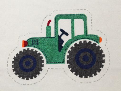 Panel Bauernhof Traktor auf Jersey Creme