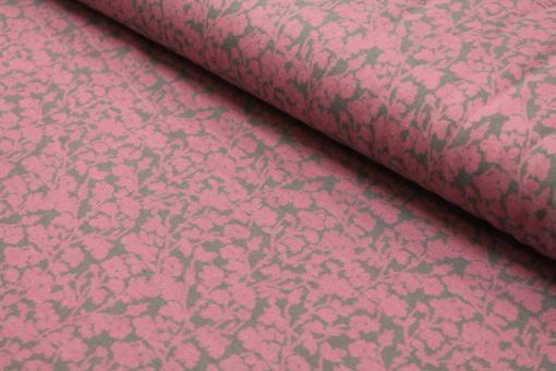 Strickstoff Jacquard Jersey Blumenzweig auf Grau