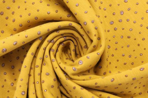 Baumwolljersey goldene Glitzerpünktchen auf Gelb