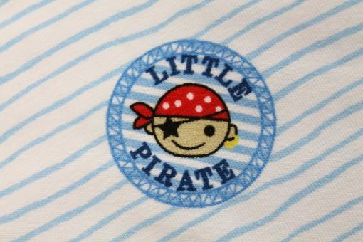 Baumwolljersey Little Pirate hellblaue Streifen auf Weiß