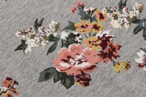 Kuschelsweat Blumen auf Hellgrau meliert