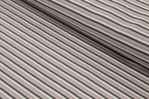 Baumwolljersey Streifen Rosé/Grau