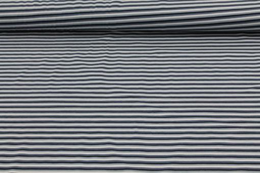 Baumwolljersey Streifen Blau/Grau