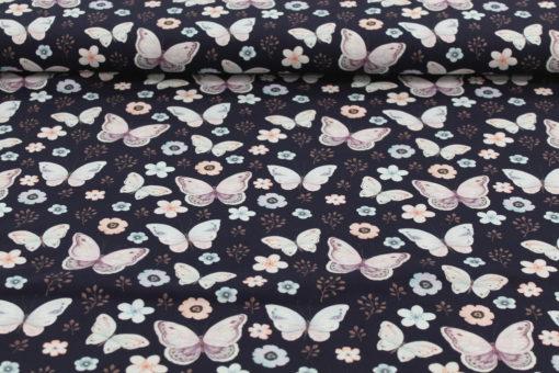 Baumwolljersey Schmetterlinge Vintage auf Nachtblau