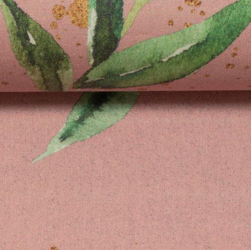 Baumwollstoff Kim Flower Goldsprenkel auf Altrosa
