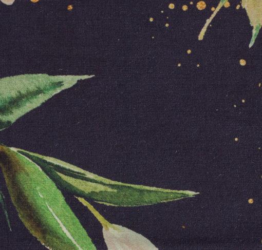 Baumwollstoff Kim Flower Goldsprenkel auf Dunkelblau