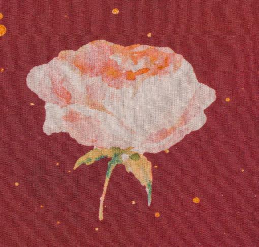 Baumwollstoff Kim Flower Goldsprenkel auf Rot